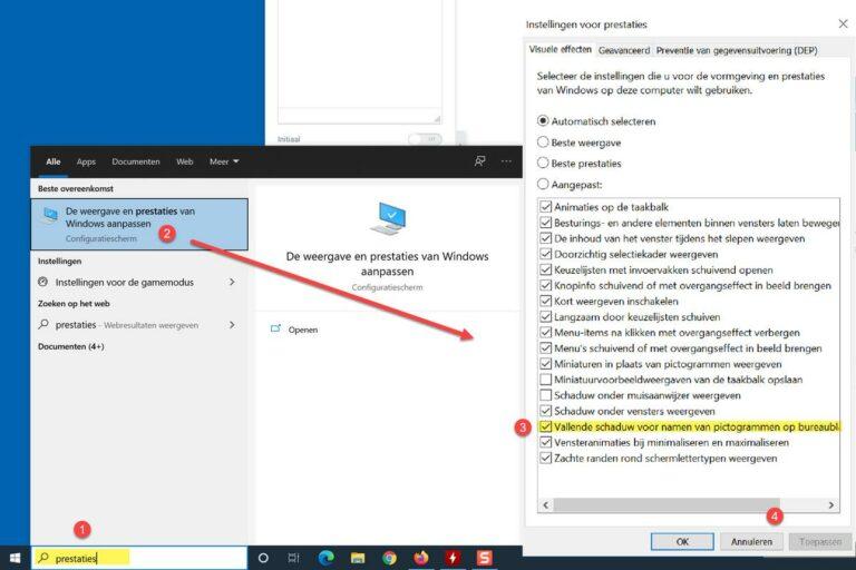 Verwijder schaduw achter tekst onder bureaublad iconen