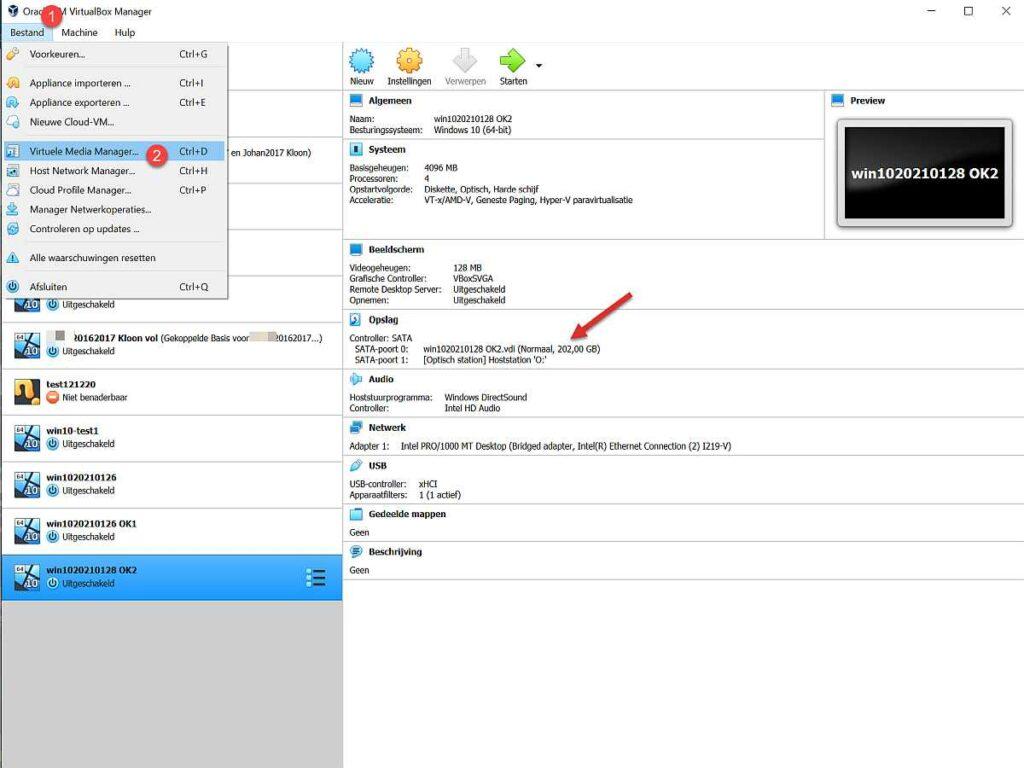 Stap 1 virtualbox schijfgrootte aanpassen